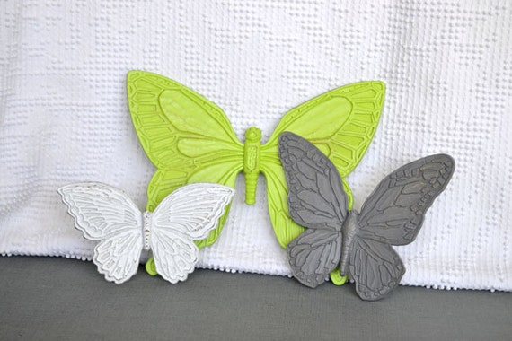Wall Butterflies Lime Green Grey White  Upcycled Painted Wall Decor Butterfly set of 3