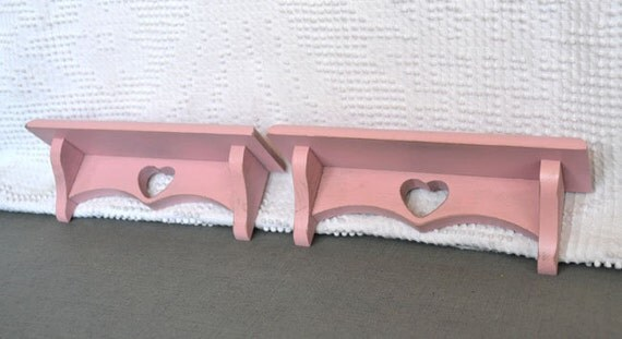 Small Pink Heart Shelves Pair Distressed Upcycled Wood Shelves set of 2 Nursery Little Girls room