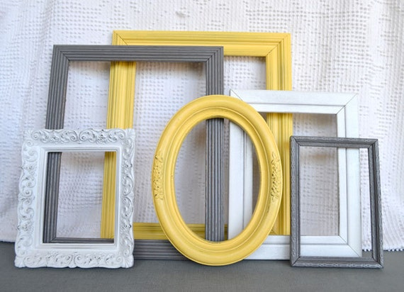 Reserved for Johanna...Yellow, Grey White Frames with GLASS set of 6 - Upcycled Frames Modern  Bedroom Decor
