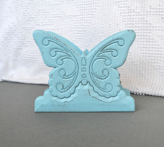 Shabby Chic Aqua Butterfly Napkin Holder Upcycled Distressed Chippy Paint Kitchen Coastal Cottage Home Decor
