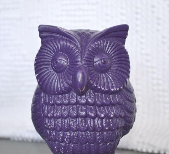 Purple Upcycled Funky Owl -  Painted Ceramic Purple Owl Retro Bright Home Decor
