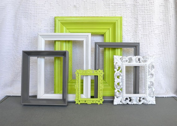 Reserved for Tara...Lime Green, Grey White Frames Set of 6 - Upcycled Frames Modern  Bedroom Decor