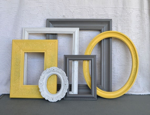 Yellow, Grey White Frames Set of 6 - Upcycled Frames Modern  Bedroom Decor