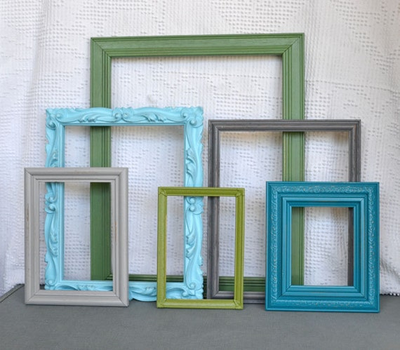 Aqua, Teal, Greys and Greens - Upcycled set of 6 Ornate Painted Frames with GLASS.. great for Gallery Wall, Modern Decor