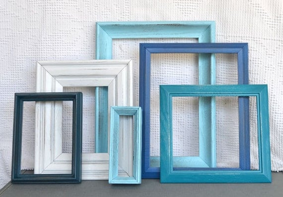 Painted Frames Collection- Aquas, Teals, Blue, Greens and White.. Upcycled Frames set of 6