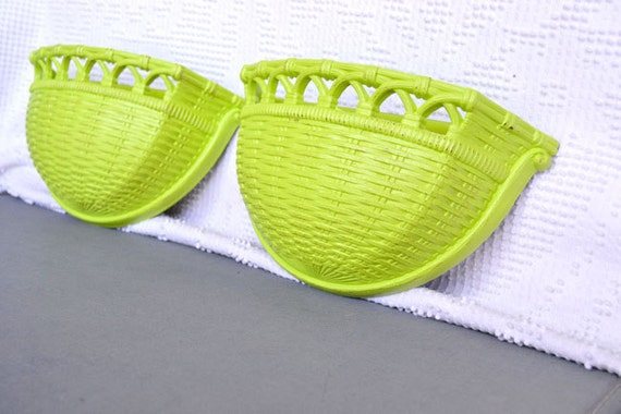 Lime Green Wall Pockets set of 2- Upcycled Funky Chartruese Lime Green Wall basket look Pockets