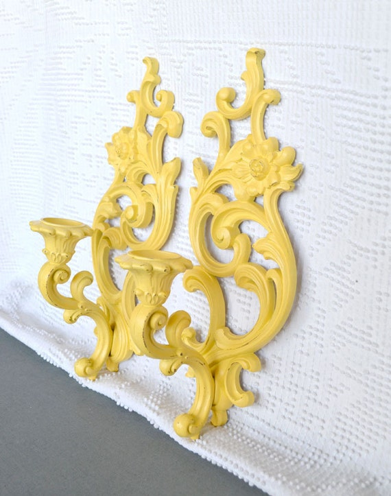 Set of Yellow Ornate Candle Sconces..Upcycled Painted Vintage Floral Homco Candleholders... Modern Traditional