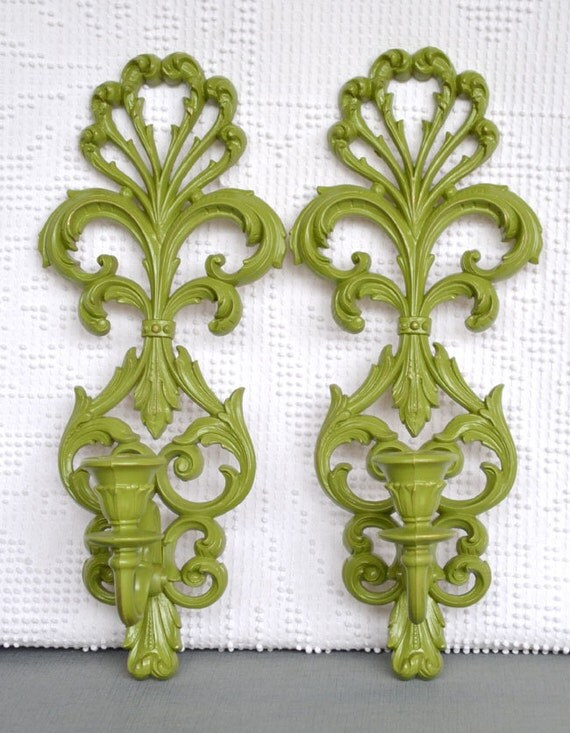 Eden Green Ornate Candle Sconces... Pair Upcycled Painted Vintage Modern Candleholders...Mid Century Modern Traditional