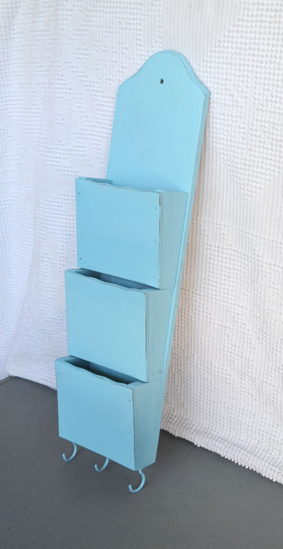 Shabby Chic Aqua Mail Organizer Upcycled - Wood Bill Letter Holder Country Farmhouse/ Cottage/ Beach House