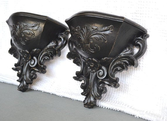 Black Ornate Wall Pockets set of 2- Upcycled Traditional or Mid Century Modern Wall Decor