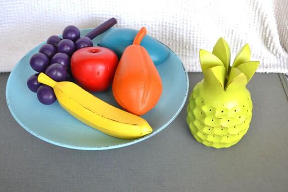 Bright Funky Vintage Wood Fruit set of 6 Summer Party Fiesta Decor Pop Art Summer Table Decor Vintage wood fruit