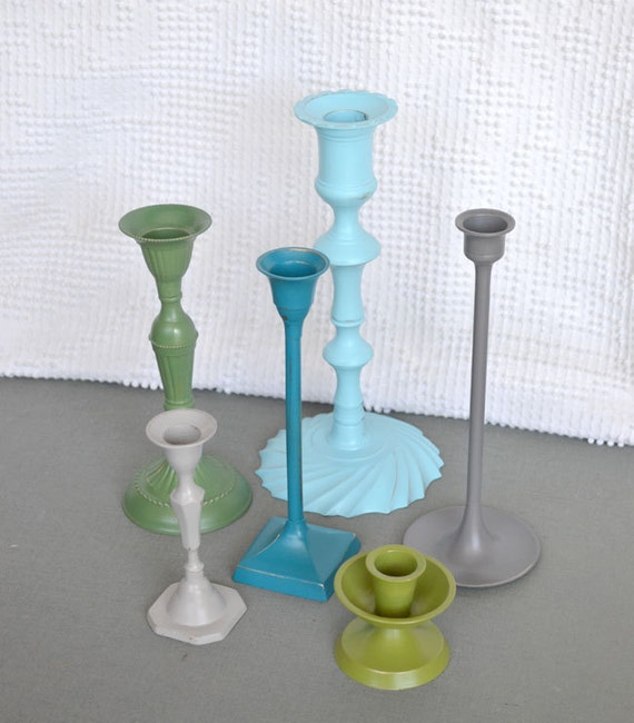 Reserved for Amy....Modern Shabby Candleholders -  Garden theme candleholders set of 15 more