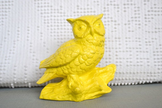 Bright Sunny Yellow Owl - Upcycled Retro Funky Kitsch  painted ceramic bright owl Mid Century Modern Pop of Color