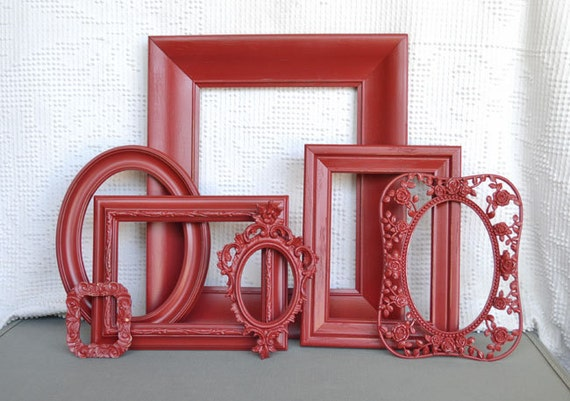 Red Ornate Painted Frames Set of 7 - Upcycled frames.. great for Gallery Wall or Bedroom
