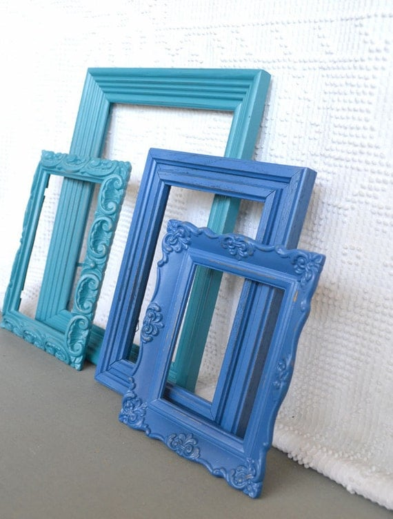 Reserved for Sarah...Teal / Blue Ornate Painted Frames Set of 4- Upcycled Ovals Ornate Frames for Beach house, modern bedroom gallery wall