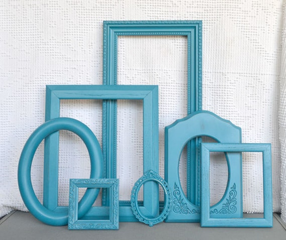 Teal Turquoise Ornate Painted Frames Set of 7- Upcycled Ovals Ornate Frames for Beach house, modern bedroom gallery wall