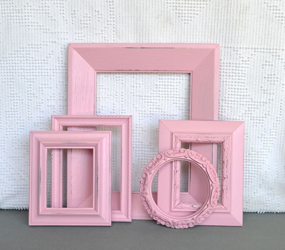 Shabby Chic Ornate Pink Painted Frame Set of 5 - ... Upcycled painted frames Nursery Girls Modern Decor