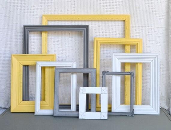 Gray/Grey Yellow White Ornate Frames Set of 9 - Upcycled Frames Modern  Bedroom Decor