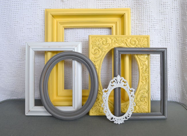 Yellow grey white frames set of 6 upcycled frames modern - White yellow and grey bedroom ...