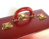 Trip Mode New York Red Leather Vintage Train Case