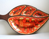 Retro 1963 Orange Leaf Shaped Treasure Craft USA Relish Serving Tray Platter
