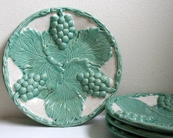 Vintage Portuguese Ceramic Raised Grapes and Leaves Pattern Plates