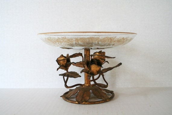 Vintage Italian Tole Roses Compote