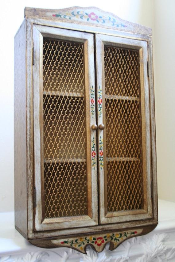 Handpainted Curio Wall Cabinet Chicken Wire Doors