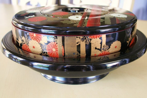 Mid-Century Asian Laquerware Lazy Susan Sushi Appetizer Plates Set