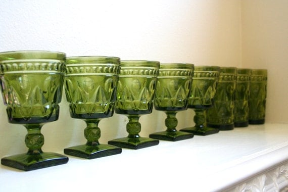 Dark Green Indiana Glass Park Lane Wine Goblets and Tumblers