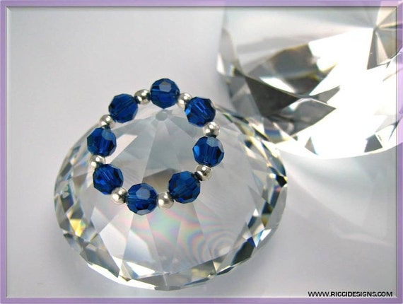 Blue Swarovski Crystal and Sterling Silver Bead Ring