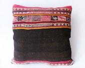 Kilim Rustic modern Bohemian throw pillow Antique Romanian Hand Woven Pillow Cover wool vintage handwoven turkish kilim pillow case 16 x 16