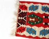 Kilim rug - Vintage Small Kilim Runner - Rustic handwoven kilim rug - red, beige, blue, green geometric motifs - romanian vintage kilim rug