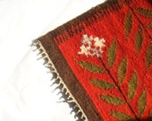 30% SALE Kilim rug - Vintage Kilim Runner - Rustic handwoven kilim rug - red, burnt orange, brow, green flowers - romanian handwoven rug
