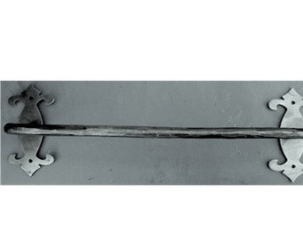 Hand Forged Wrought Iron Decorative Plate Towel Bar
