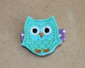 Girls Hair Clip Set - Felt Hair Clip - Felt Owl Hair Clip in Turquoise-