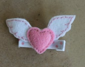Girls Hair Clip Set - Felt Hair Clip - Felt Heart with Wings Clip-