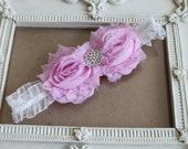 Baby Headband-Newborn Headband-Toddler-Infant-Photo Prop- Light Pink Shabby Flowers on a ruffled band