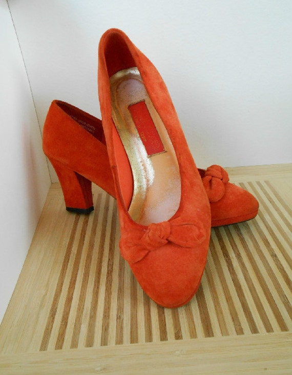 Dolcis Suede Leather Tangerine Orange High Heels - Size 7.5