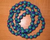 Teal and Blue stretchy Bracelets, Bracelet Set