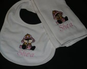 Little Firefighter Girl Bib and Burp Cloth Set.  Personalized.