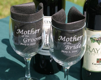 Set of Six Wedding Wine Glasses Engraved Personalized
