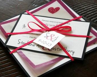 Unique Custom Layered Square Heart with Initials Wedding Invitation Suite Wedding Invite - DEPOSIT