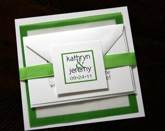 DEPOSIT - Custom Square Wedding Invitation Suite Ribbon Wrapped