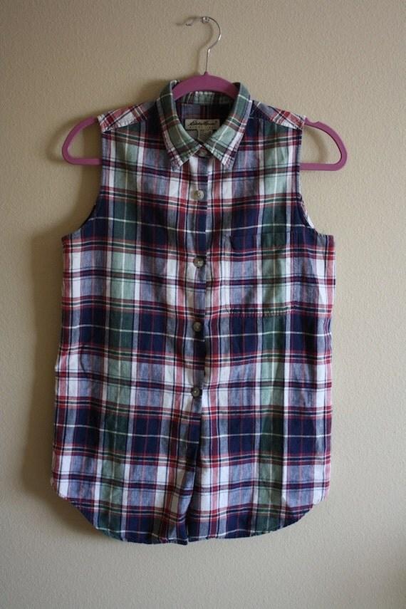Vintage Eddie Bauer Retro Rockabilly Pin Up Plaid Sleeveless Button Down Tie Blouse Sz. S/M