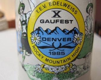 Gaufest Denver 1985 Beer Stein - Rocky Mountain High
