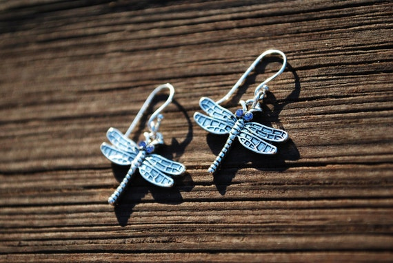 Silver Dragonfly Earrings -- Purple Swarovski Crystals, Silver Dragonflies, Sterling Silver