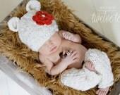 Newborn Knit Teddy Bear Hat and matching Leg Warmers.