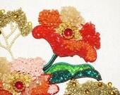Reserved 4 Lovely Lisa /Vntg GRAVEL Rock ART / Retro MadMen Groovy Kitsch/'60s JEWELS / Orange Corals Pink Gold Greens Framed /Treasury