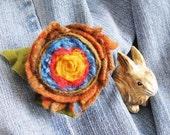 Rose Felt Wool Brooch Flower - SUNNY Fresh - French Country Pin - TREASURY Handmade